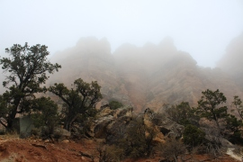 Hiking underneath the clouds in Grand Canyon National Park.